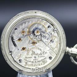 BIG 1910 Hamilton 21 Ruby Jewel RAILROAD Grade 940 Pocket Watch 18s Antique USA