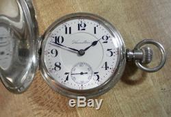 Beautiful 18s Hamilton Solid Silver 927 Hunting Pocket Watch 17j Runs Great