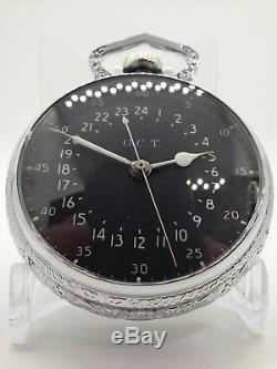 DISPLAY CASE Hamilton GCT 22Jewels 4992B Military Army Navigation Pocket Watch