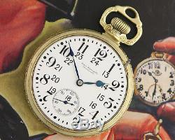 Excellent 1925 TRIPLE MARKED Ball Hamilton 999P GREEN GOLD FILLED Pocket Watch