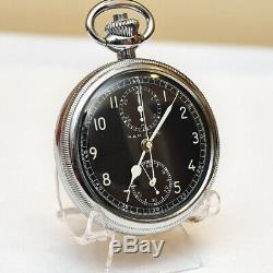 Fabulous Hamilton 16s 19j Black Dial Military Chronograph Model 23 Pocket Watch