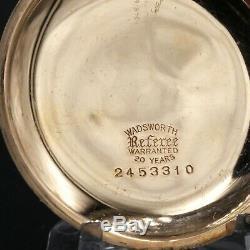 Gold 1916 HAMILTON 17 Jewel Grade 974 Pocket Watch 16s Bold Roman Nums MINT Dial