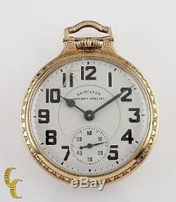 Gold Filled Hamilton Railway Special Gr 992B Open Face Pocket Watch 21 Jewel