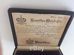 Grandpas Art Deco White Gold Hamilton Pocket Watch Original Box Certificate