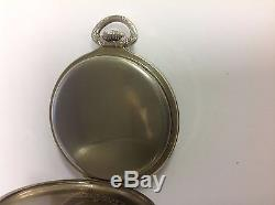 HAMILTON 14k White Gold Pocket WATCH Antique with Blue Steel Hands REDUCED