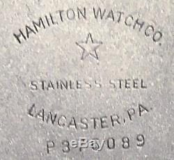HAMILTON 21j GRADE 992B CASE MODEL 15 all Stainless Steel with BOX Circa 1948