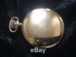 HAMILTON 974 10k GOLD FILLED OPEN FACE 17J GREAT POCKET WATCH KEYSTONE CASE