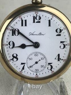 HAMILTON 974 17J 16S Model 2 Openface Pocket Watch Running Nice Watch