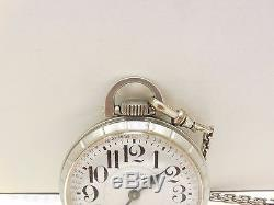 HAMILTON 992B 21J Stainless Steel RAILROAD GRADE 1966 Pocket Watch with chain