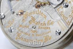 HUGE 1917 Hamilton 21 Ruby Jewel RAILROAD Grade 940 Pocket Watch 18s USA