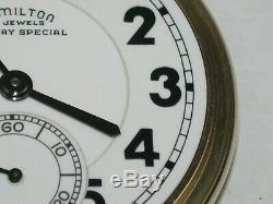 Hamilton 16 Size 23 Jewel Model 950B Railroad Pocket Watch. 112M