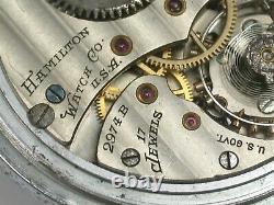 Hamilton 16 Size 2974B U. S. GOVT. Military Comparing Pocket Watch. 38T