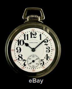 Hamilton 16s 21J 992 Railroad Pocket watch Massive Nickel Silver Case Extra Fine