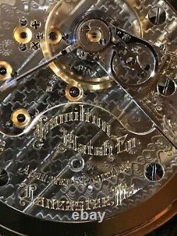 Hamilton 18 size Gr. 940 pocket watch, New Salesmans Display case, 21j, Runs