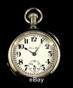 Hamilton 18s 17J 924 Railroad Pocket watch Nickel Silver hinged Case Extra Fine