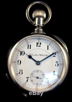 Hamilton 18s 21Jewel 940 Railroad Pocket watch Massive 4oz. Silver Extra Fine