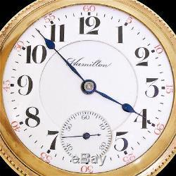 Hamilton 1909 Grade 941 Model 2 21J Hunter Pocket Watch Running 18S Double Sunk