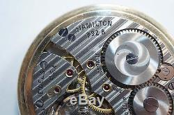 Hamilton 21 Jewels 16s Grade 992b Railroad Pocket Watch Bar Over Crown A598