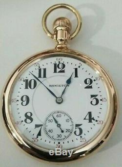 Hamilton 21 jewel 16S. Early 992 first pattern (1905) Railroad 14K. Gold filled