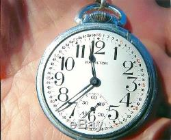 Hamilton 21j/ Railroad Grade Pocket Watch/anitique Solid Silver Chain & Fob