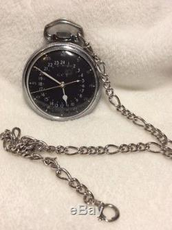 Hamilton 4992b 24 Hour Military Pocket Watch In Great Working Condition Rare
