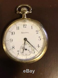 Hamilton 914 12s 17 Jewel Pocket Watch 14k Gold Swing Out Case