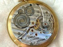 Hamilton 917 17 Jewel Movement 14k Hamilton Gold Filled Open Face Case