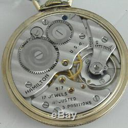 Hamilton 917 Gold Filled Pocket Watch excellent condition