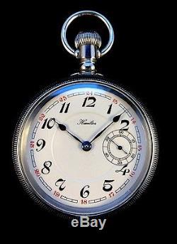 Hamilton 925 18s 17Jewel Railroad pocket watch Rarer Conversion Dial Extra Fine