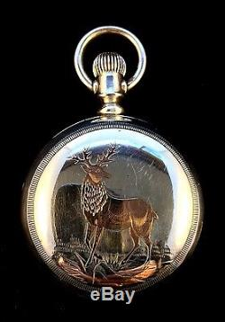 Hamilton 940 18s 21Jewel Railroad Sterling Silver with Gold Stag Engraved Fine