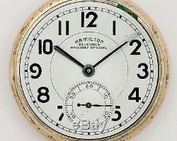 Hamilton 950B 16s 23j Pocket Watch in 10k Gold Filled Hamilton Case! Running