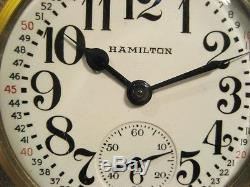 Hamilton 992B 16s 21Jewel Railroad Watch Montgomery Dial 1940s Near Mint withFob