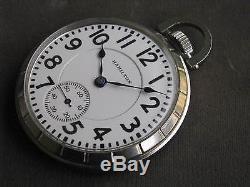 Hamilton 992B 21-jewel 16-size Railroad Pocket Watch, Stainless Steel Case