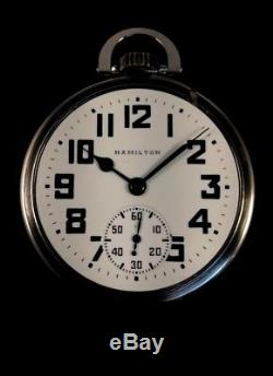Hamilton 992B 21J 16s Railroad Pocket watch M#15 SS Case Near Mint Condition