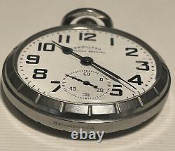 Hamilton 992B Railway Special 21J Pocket Watch Stainless