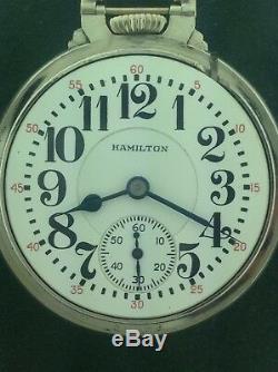 Hamilton 992E Railroad Pocket Watch Circa 1930 BOC 14WGF Wadsworth Case