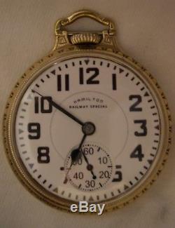 Hamilton 992b Railway Special 21j 16sz Pocketwatch Barover Crown Case