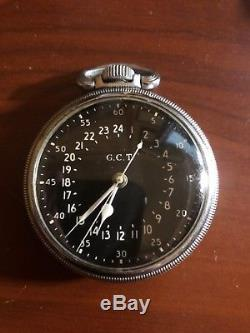 Hamilton GCT Military Master Navigation Pocket Watch WW2 Stainless Steel