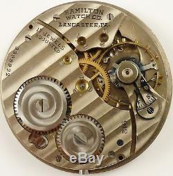 Hamilton Grade 912 Pocket Watch Movement Spare Parts / Repair