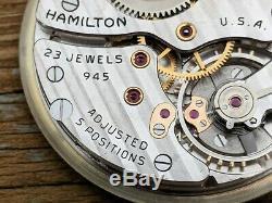 Hamilton Grade 945, 23 Jewel Movement, Running & Complete, Perfect