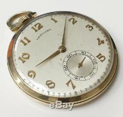 Hamilton Grade 945 Vintage Wind Up Open Face Pocket Watch 10K Gold 23 Jewels