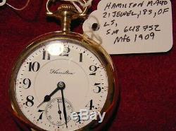 Hamilton Model 940 21 jewel mfg. 1909 in nice Phila. 20 year case
