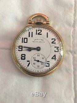 Hamilton Railroad Pocket Watch 992B 21 Jewel 10k Gold Plate
