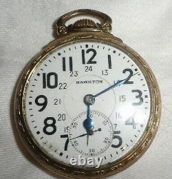 Hamilton Railway Special 992B 21 Jewel 10k GF Open Face Pocket Watch Keeps Time