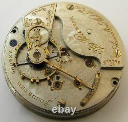 Hamilton The Banner 18s Pocket Watch Movement 17 j. OF Serial 580889 grade 926