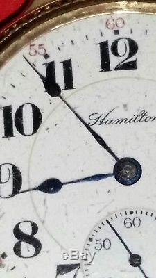 Hamilton Watch Company Vintage Open Face Pocket Watch Parts Or Repair