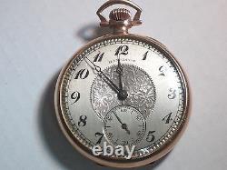 Hamilton pocket watch, 14k gold filled, runs, 912, 17 jewels, open face, yellow
