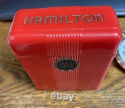 Hamilton pocket watch with cigarette box celluoid case Rare Red