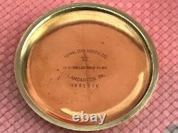LQQK Rare Near Mint Hamilton 992B Pocket Watch 21j, 16s, 24 Hour Dial C1955