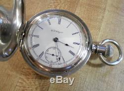 Large 1897 18s Hamilton 931 Solid Silver Hunter Pocket Watch Runs Great! L@@K